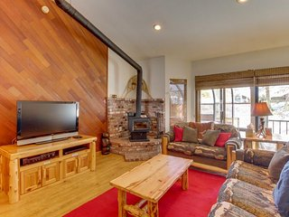 Dog-friendly mountain cabin with a fireplace and a private hot tub!