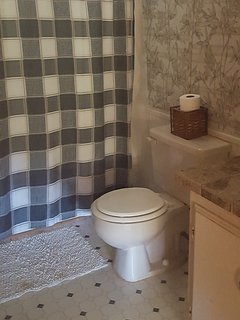 Bathroom with shower.  River home has two bathrooms
