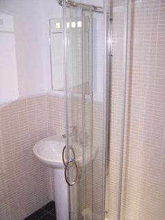 power shower and warmth in the bathroom