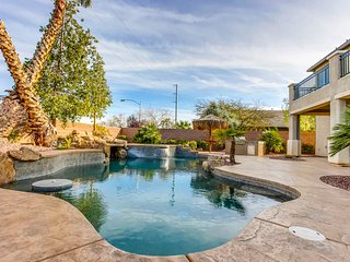 Half Acre Gated Luxury Estate Near Strip, Heated Pool & Spa with Full Casita