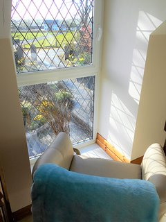 View from Upstairs Landing Window. Quiet Seated Reading Corner.