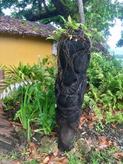 Native art at the entry path to the house.