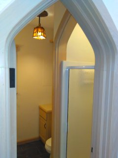 The Castle Cottage bathroom with shower.