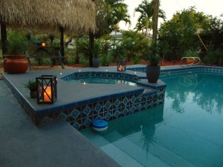 Beach Cottage! New Listing,Pool,Spa,Cabana,Hanging Swing,Privacy, Walk to Beach