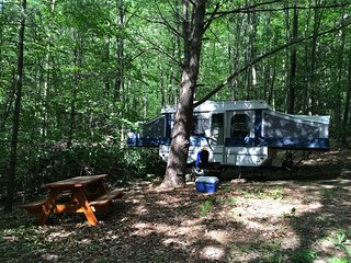 Camper Cabin in Private Wooded Campsite w/electric, AC, propane stove