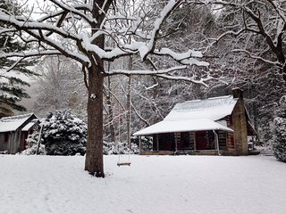 1800's historic log cabin 15 minutes to downtown Asheville, bold creek, 7 acres