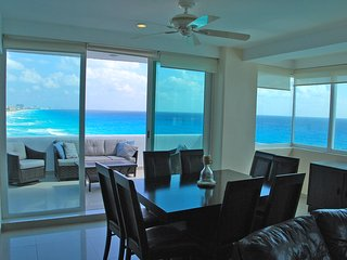 Penthouse #372 is located directly on the beach and faces straight out to the ocean.
