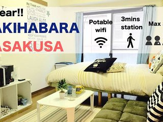 Cozy Studio Apartment 3 mins from Sub. Station#AT1, Chuo