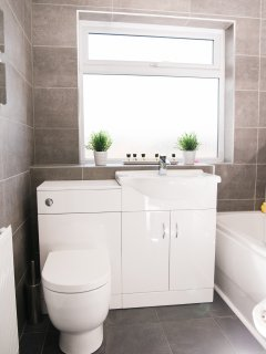 Luxurious bathroom with complimentary toiletries.