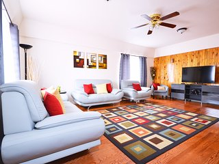 The main floor living room just got updated with a new smart 65' LG television.