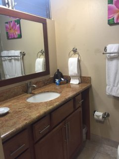 granite countertops throughout the kitchen and bathroom.