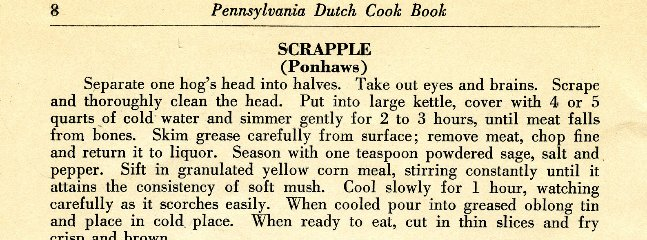 One old scrapple recipe
