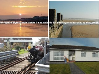 Detached Bungalow 200 yds from sea wall & sandy beach sleeps 5 in three bedrooms, Dymchurch
