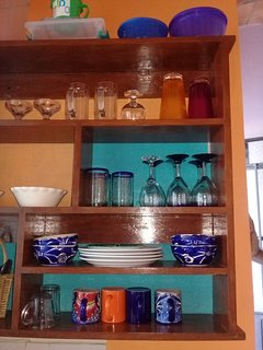 Dishes, wine goblets, serving bowls, etc.
