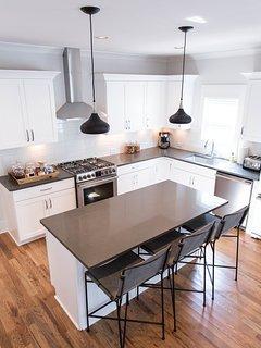 Kitchen - 3 barstools, coffee/tea station