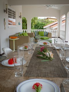 Patio dining detail.