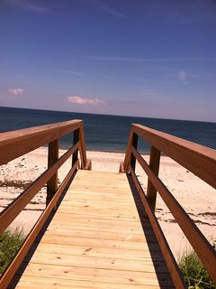 Steps from the deck to the beach