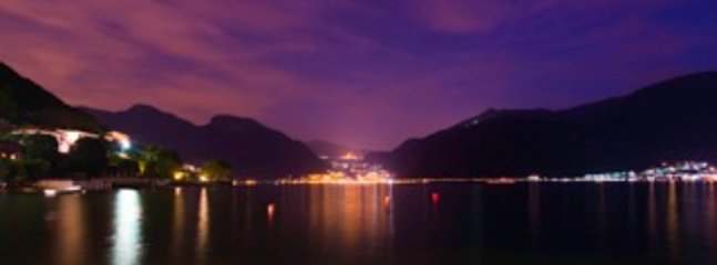 Stunning view over the lake at night