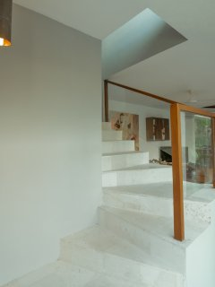 The villa is modern and, with a contemporary design and a twist of traditional Indonesian style.
