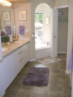 Stunning adjoining MBR bath with jacuzzi tub.