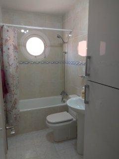 Our new bath/shower room - minus bidet, plus new boiler/airing cupboard upgrade.