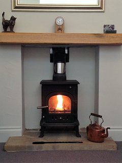 Cosy wood burner with a full log basket, kindling and fire lighters on arrival.