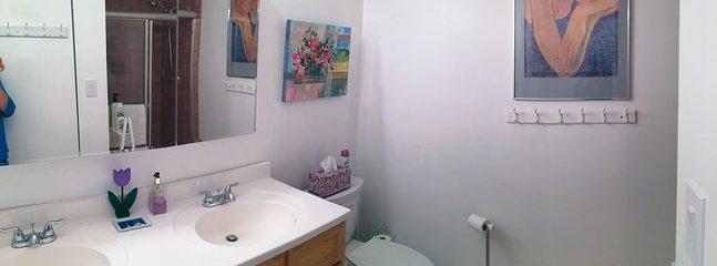 Double sink vanity in large bathroom