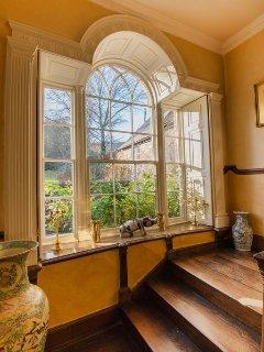 venetian window on stairs