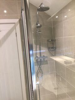 Our shower with rain head is very popular with guests.