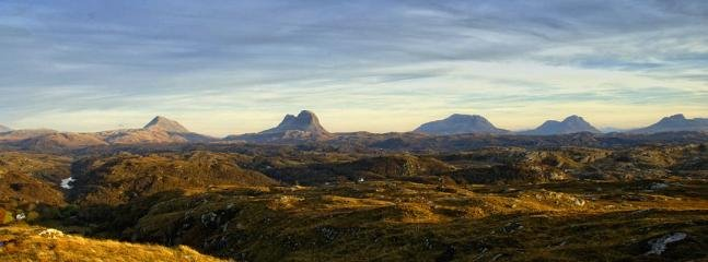 Assynt mountains from viewpoint, 1.5 miles from cottage.