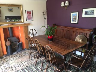 Dining area with wood burning stove.
