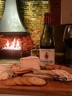 Cheese and Wine by the fire