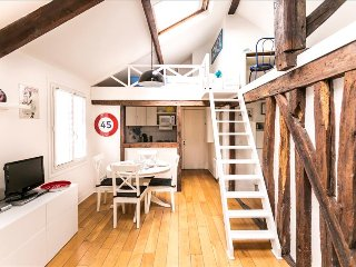 Sunny apartment on 2 levels, steps from Marais