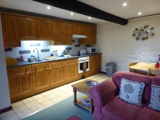 The spacious kitchen and dining area
