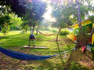 Hammocks and BBQ set up in the backyard for you to use.  This is also your balcony view.