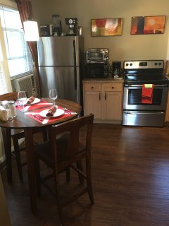 New stainless appliances, microwave and broiler oven.