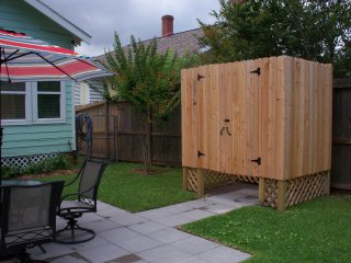 Outdoor shower with hot & cold water for rinsing off after your day at the beach.