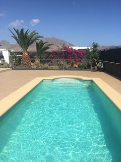 Pool, terrace, Palm trees with garden & bouganvilleas. .