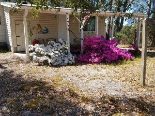 Front of property in early April (during Azalea Festival).