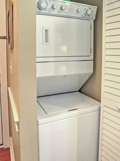 Wash the sand from your clothes utilizing the in-unit laundry machines.