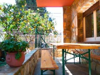 Casa unifamiliar de piedra con jardín