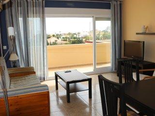 Apartamento acogedor, renovado con  piscina en jardín con palmeras,(Alisios 336)