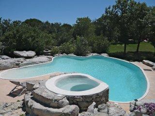 Une grande et belle piscine taillée dans la roche pour des gîtes classés 4****