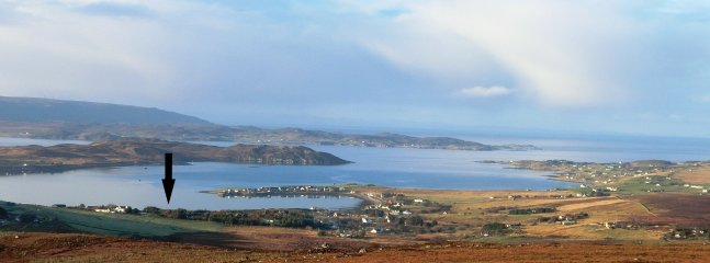 View from hill behind Aultbea Lodges, across Loch Ewe and to the Isle of Lewis/Harris