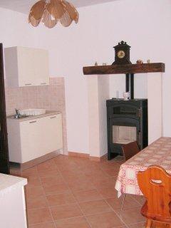 Kitchen , sink area with wood burner