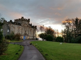 Craufurdland castle in a moody Ayrshire sunset.