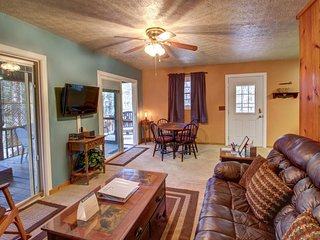 Charming cabin w/ great screened-in deck that includes hot tub, TV, seating!, Helen