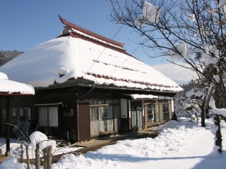 Traditional Japanese farm house near snow monkeys