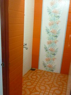 Newly tiled shower room ,plus hot water .