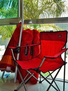 Beach chairs and sun umbrella